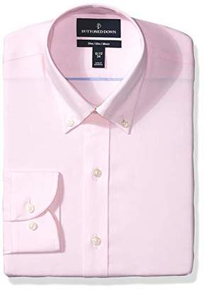 Buttoned Down Men's Slim Fit Button Collar Solid Non-Iron Dress Shirt