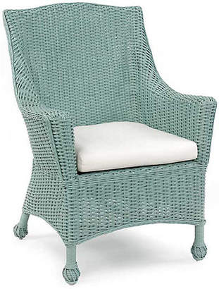 One Kings Lane Eastern Shore Wicker Chair - Sky Blue