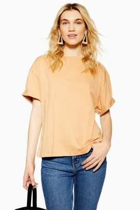 Topshop Womens Boxy Roll Sleeve T-Shirt