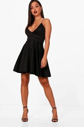 boohoo Eliza Strappy Plunge Neck Skater Dress $20 thestylecure.com