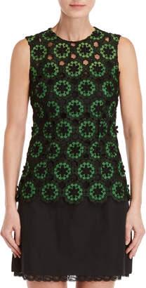 Dolce & Gabbana Sleeveless Floral Peek-a-Boo Top