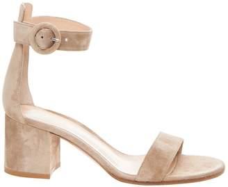 Gianvito Rossi Nude Suede Heeled Sandal