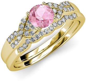 TriJewels Pink Tourmaline and Diamond Engagement Ring & Wedding Band Set 1.35 ct tw in 14K Yellow Gold.size 6.5