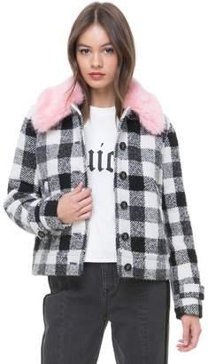Juicy Couture Faux Fur Collar Buffalo Check Jacket