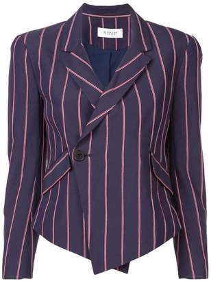 Derek Lam 10 Crosby Striped Cropped Asymmetrical Blazer