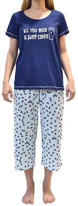 Hue Plus Two-Piece Need Coffee Capri Pyjama Set