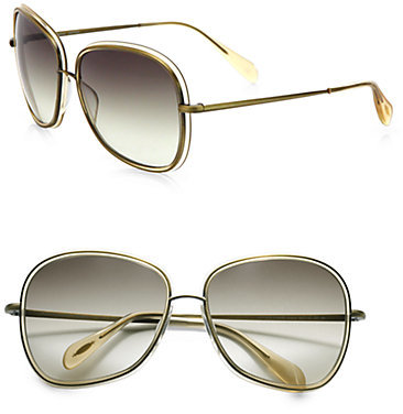 Oliver Peoples Emely 60MM Round Sunglasses/Light Beige