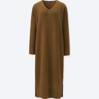 Uniqlo WOMEN Ribbed V Neck Long Sleeve Knit Dress