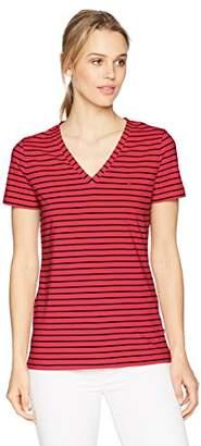 Nautica Women's Short Sleeve Stretch V Neck Stripe T-Shirt