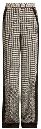 Talitha - Wide Leg Scarf Print Silk Trousers - Womens - White Multi