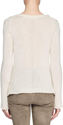 The Row Aetra V-Neck Long-Sleeve Cashmere-Blend Top