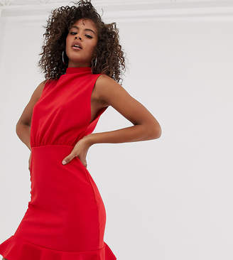 Missguided Tall mini dress with high neck and frill hem in red