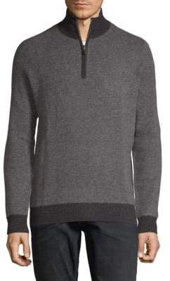 Fancy Cashmere Half-Zip Placket Sweater