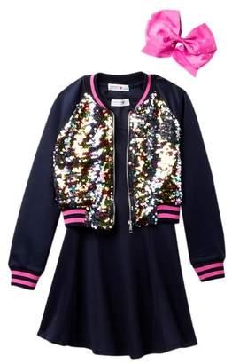 Beautees Dress, Sequin Bomber Jacket, & Bow Set (Big Girls)