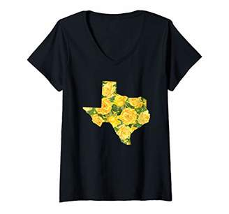 Womens TX Yellow Rose Shirt Texas Native V-Neck T-Shirt