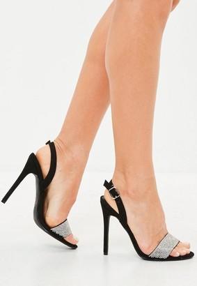 Missguided Black Embellished Sling Back Sandal Heels
