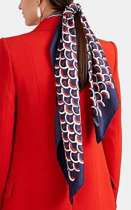 Valentino Women's Logo-Print Silk Scarf - Blue