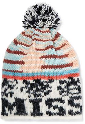 Missoni Pompom-embellished Intarsia Knitted Beanie - Black