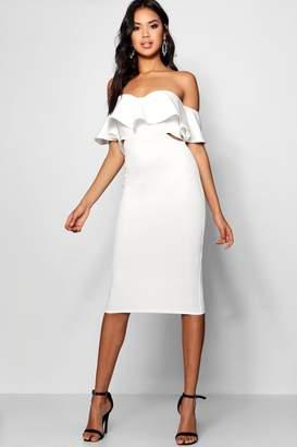 boohoo Frill Detail Midi Bodycon Midi Dress