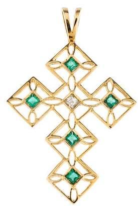 14K Emerald & Diamond Cross Pendant