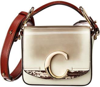 Chloé C Patent & Snakeskin-Embossed Leather Shoulder Bag