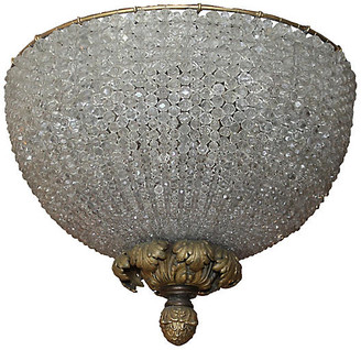 One Kings Lane Vintage French Beaded Dome Fixture - C. 1890 - Something Vintage