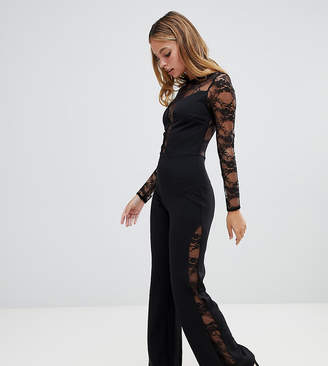 John Zack Petite long sleeve jumpsuit with lace insert in black