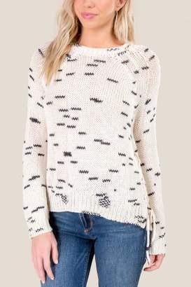 francesca's Laney Lattice Sweater - Ivory