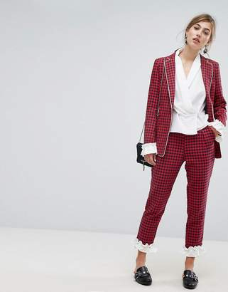 Sister Jane Dogtooth Pants With Frill