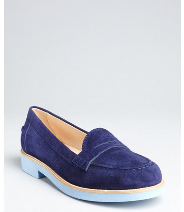 Tod's navy and baby blue suede colorblock penny loafers