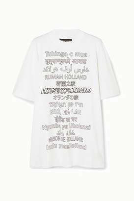 House of Holland Oversized Printed Cotton-jersey T-shirt - White