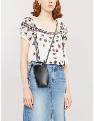 Free People Aurura floral-embroidered crepe top