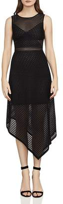BCBGMAXAZRIA Leona Asymmetric Striped Mesh Dress