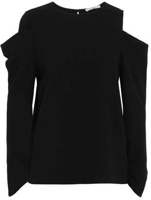 Tibi Cold-shoulder Crepe Top - Black