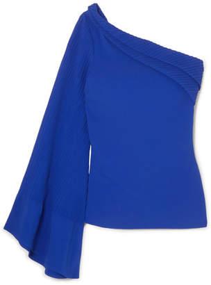Brandon Maxwell - One-shoulder Pintucked Crepe Top - Royal blue