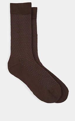 Barneys New York Men's Pin-Dot-Pattern Cotton-Blend Mid-Calf Socks - Brown