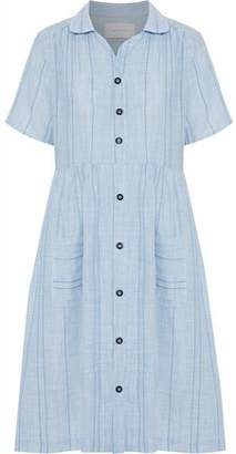 Solid & Striped The Pool Embroidered Striped Cotton-Voile Shirt Dress