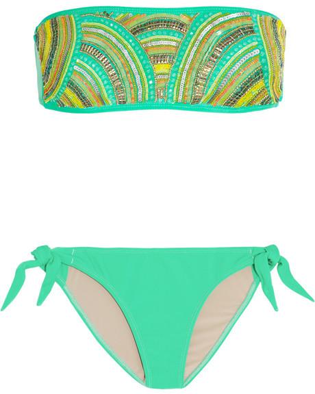 Tara Matthews Ruppione embellished bandeau bikini