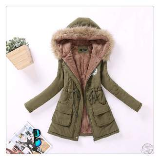 Anghuluqub New Winter Military Coats Women Cotton Wadded Hooded Jacket Medium-Long Casual Parka Thickness Plus Size XXXL Quilt Snow Outwear L