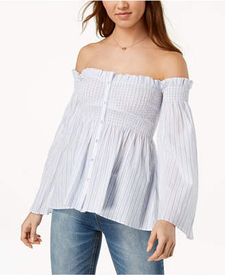 ASTR the Label Shelby Striped Cotton Off-The-Shoulder Shirt