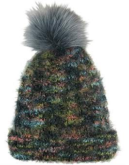 Morgan & Taylor Multi Coloured Knit Beanie With Fur Pompom