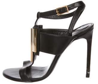 Saint Laurent Leather Embellished Strap Sandals