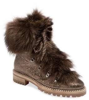 Christian Louboutin Fanny Fur& Metallic Leather Combat Boots
