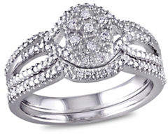 Concerto 0.14 TCW Diamond and Sterling Silver Bridal Ring Set