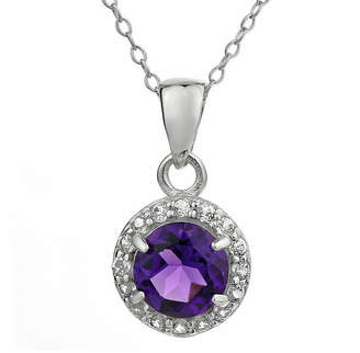 JCPenney FINE JEWELRY Faceted Genuine Amethyst & White Topaz Sterling Silver Pendant Necklace