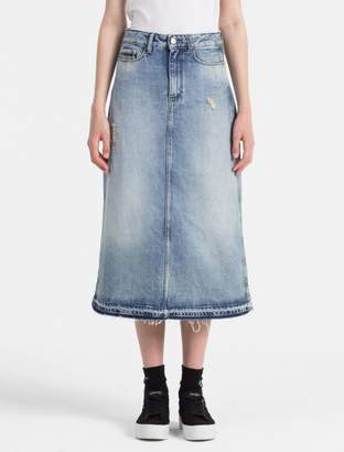Calvin Klein denim a-line midi skirt