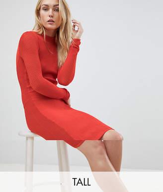Y.A.S Tall textured mini sweater dress in orange