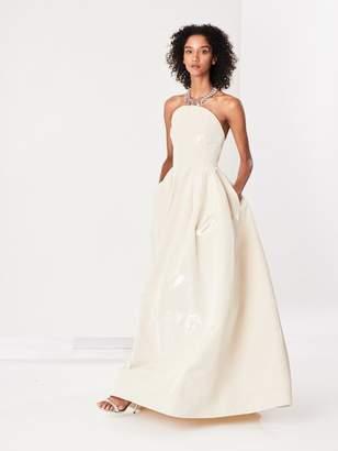 Oscar de la Renta Metallic Moire Faille Gown