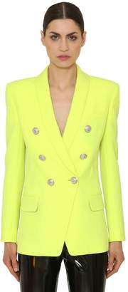 Balmain Cool Wool Double Breasted Long Blazer