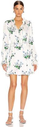 Les Rêveries Ruffle Picnic Mini Dress in Blue Daffodil & White | FWRD
